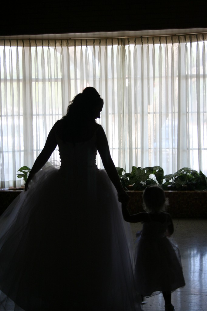 The bride and her little princess.